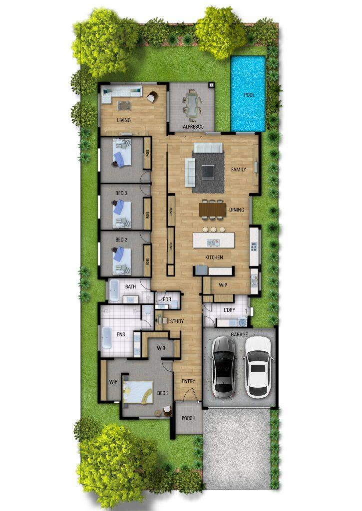 Imperio Uno custom home floorplan design